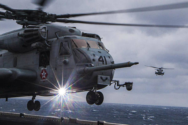Missing Painting - Ch-53e Super Stallion Helicopter Us Navy by Celestial Images