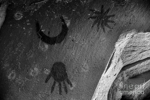 Photograph - Chaco Supernova Petroglyph Black And White by Adam Jewell