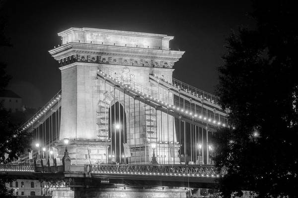 Chain Bridge Photograph - Chain Bridge Tower Night Bw by Joan Carroll
