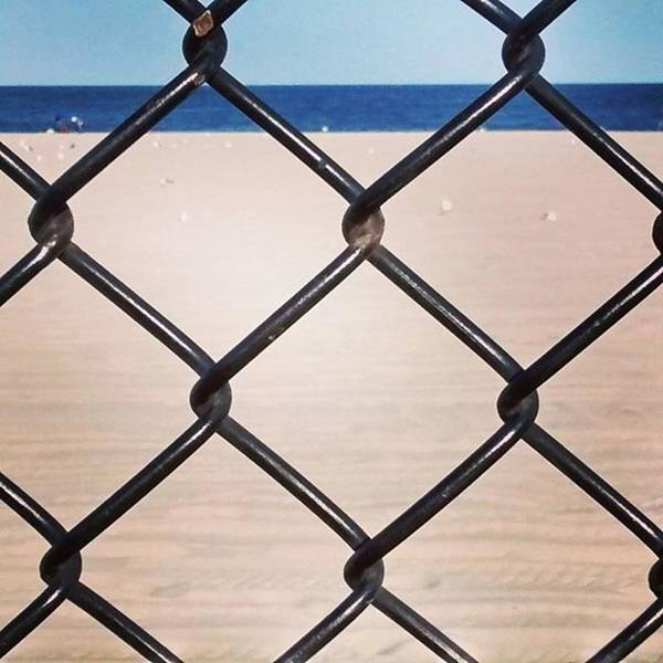 Chain Fence At The Beach Art Print
