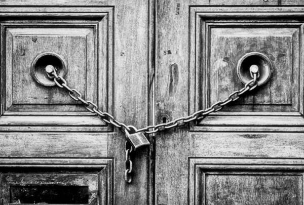 Chain Link Photograph - Chained Door by Tom Gowanlock