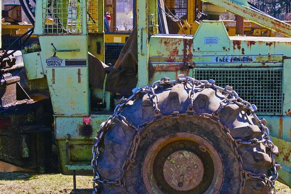 Photograph - Chained Tire Heavy Machinery by Polly Castor