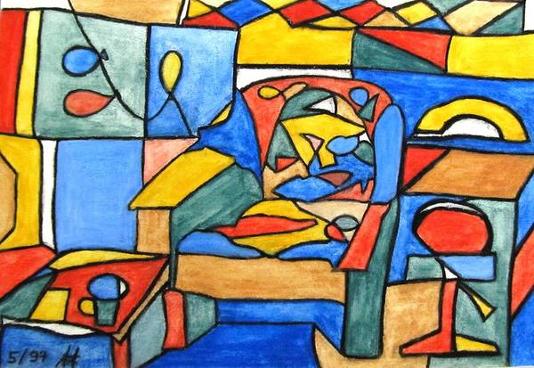Leaded Glass Painting - Chair In The Office by Jolanta Fontaine
