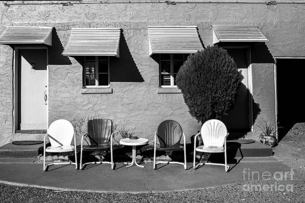 Wall Art - Photograph - Chairs At The Blue Swallow In Black And White by Twenty Two North Photography