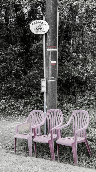 Wall Art - Photograph - Chairs At The Bus Stop Italy by Joan Carroll