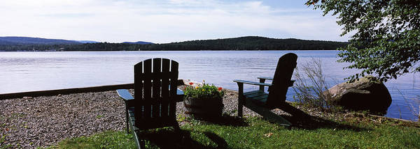 Adirondack Chair Wall Art - Photograph - Chairs At The Lakeside, Raquette Lake by Panoramic Images