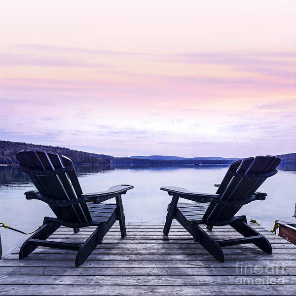 Lake Shore Wall Art - Photograph - Chairs On Lake Dock by Elena Elisseeva