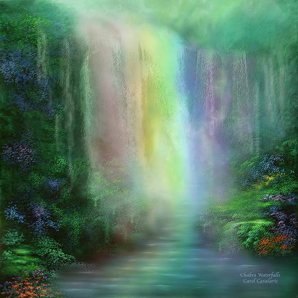 Mixed Media - Chakra Waterfalls by Carol Cavalaris