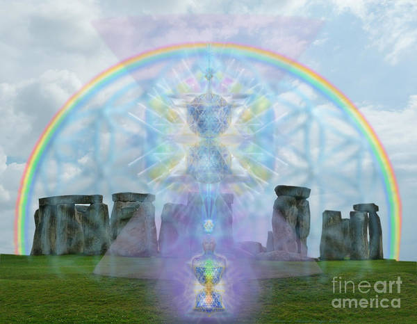 Digital Art - Chalice Over Stonehenge In Flower Of Life And Man by Christopher Pringer