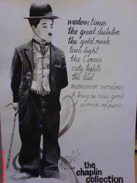Orlando Bloom Painting - Chalie Chaplin by San Art Studio