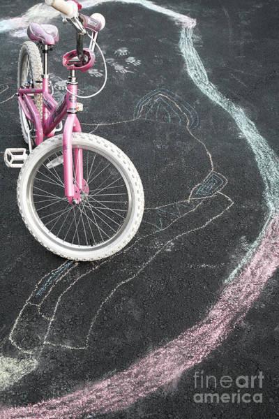 Wall Art - Photograph - Chalk Circle On Driveway Around Child Bicycle by William Kuta