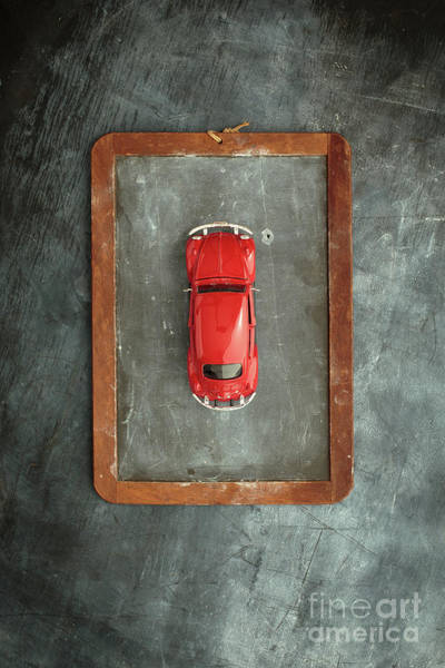 Box Car Photograph - Chalkboard Toy Car by Edward Fielding