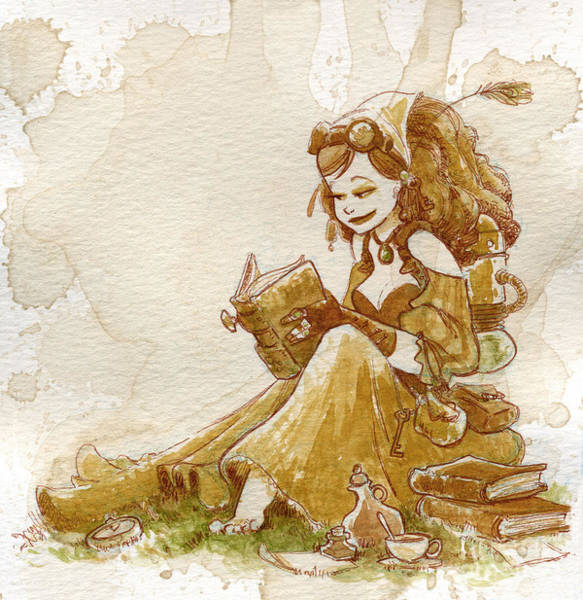 Woman Painting - Chamomile 2 by Brian Kesinger