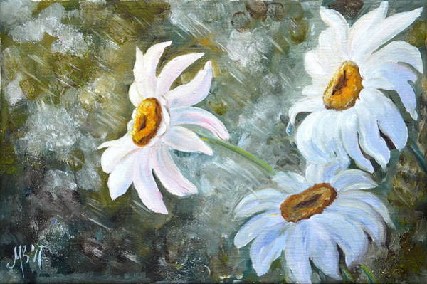 Camomile Painting - Chamomiles In The Rain by M B