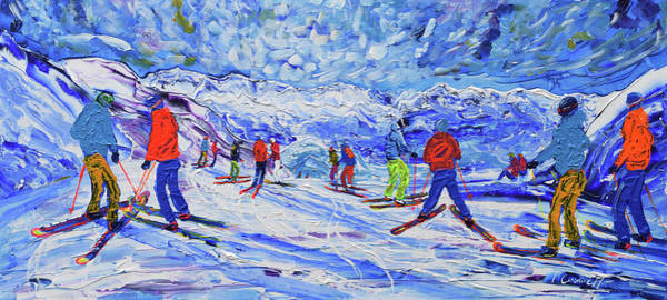 Painting - Chamossiere Express Chairlift At 2002m by Pete Caswell