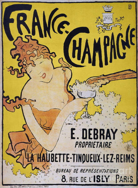 Text Bubble Photograph - Champagne Poster, 1891 by Granger