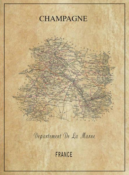 Cellar Digital Art - Champagne Region Of France Map  1852 by Daniel Hagerman