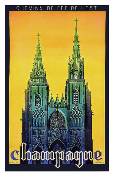 Champagne Painting - Champagne, Reims, Cathedral, France by Long Shot