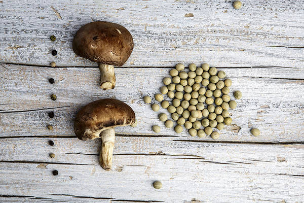 Red Green Photograph - Champignons, Peas And Pepper by Nailia Schwarz