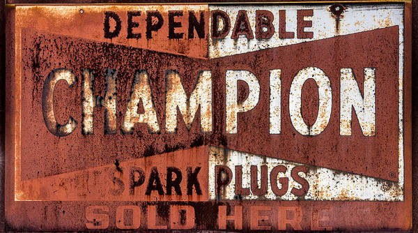 One Of A Kind Photograph - Champion Spark Plugs by Paul Freidlund
