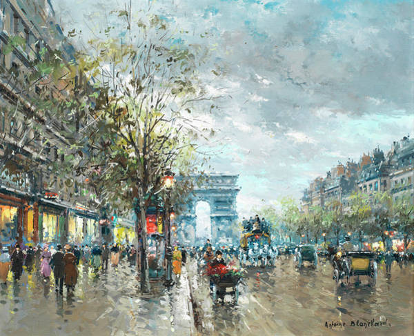 Wall Art - Painting - Champs Elysees Avenue, Paris by Antoine Blanchard