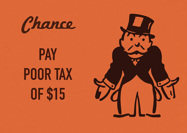 Wall Art - Mixed Media - Chance Card Vintage Monopoly Board Game Pay Poor Tax by Design Turnpike