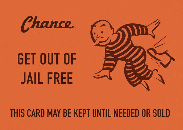 Wall Art - Mixed Media - Chance Card Vintage Monopoly Get Out Of Jail Free by Design Turnpike