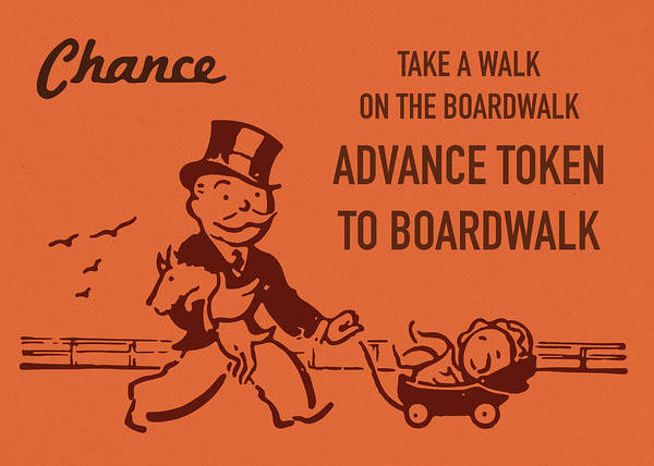 Wall Art - Mixed Media - Chance Card Vintage Monopoly Take A Walk On The Boardwalk by Design Turnpike