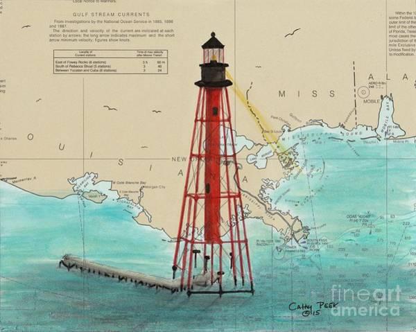 Wall Art - Painting - Chandeleur Island Lighthouse La Cathy Peek Nautical Chart Map Art by Cathy Peek