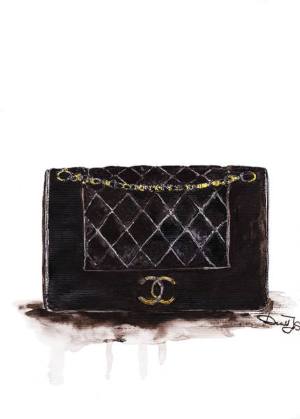 Chanel Painting - Chanel Bag Print by Del Art