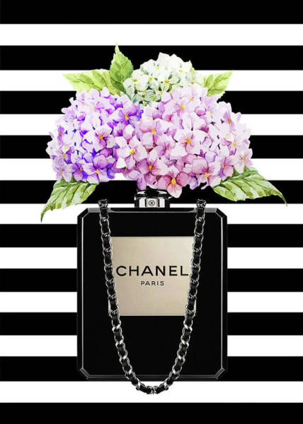 Chanel Painting - Chanel Bag With Lila Hydragenia On Strips by Del Art