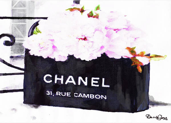 Chanel Painting - Chanel Bag With Peony  by Del Art