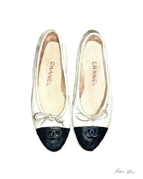 Shopping Painting - Chanel Ballet Flats Classic Watercolor Fashion Illustration Coco Quotes Vintage Paris Black White by Laura Row