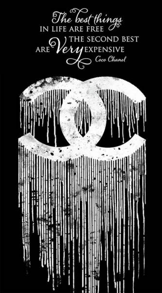 Wall Art - Painting - Chanel Dripping Poster Chanel Print Chanel Citation Chanel Logo Print by Del Art