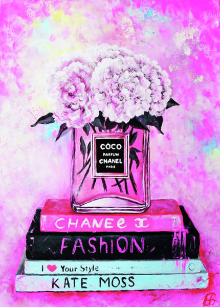 Chanel Painting - Chanel Perfume With Peony by Del Art