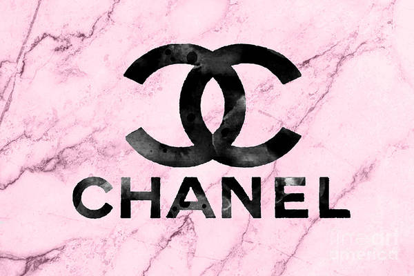 Wall Art - Mixed Media - Chanel Logo Pink Marble by Del Art