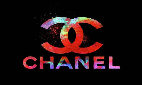 Wall Art - Painting - Chanel Logo Red Blue Black by Del Art