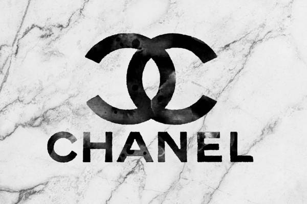 Wall Art - Mixed Media - Chanel Logo White Marble by Del Art
