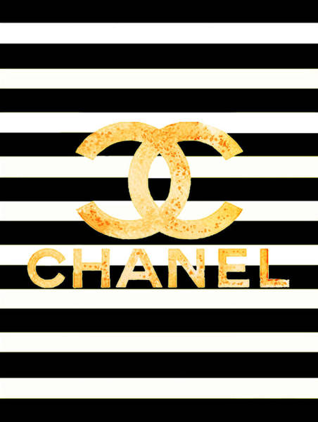 Wall Art - Painting - Chanel Logo Yellow  by Del Art