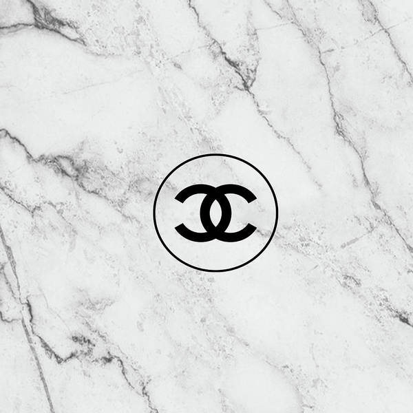 Wall Art - Painting - Chanel Marble Logo, Black by Del Art