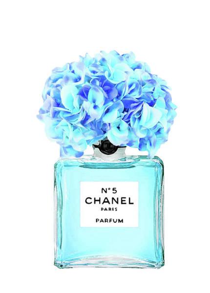 Wall Art - Digital Art - Chanel No.5 With Blue Hydragenia 2 by Del Art