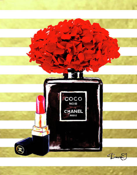 Chanel Mixed Media - Chanel Noir  Perfume  On Gold Stripes  by Del Art