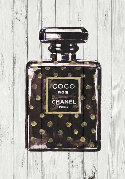 Chanel Painting - Chanel Noir Perfume On Wood Poster by Del Art