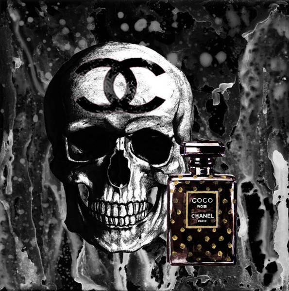 Wall Art - Painting - Chanel Noir Perfume With Black Skull Poster by Del Art