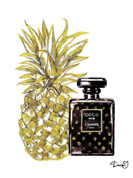 Chanel Painting - Chanel Noir Perfume With Gold Pineapple by Del Art