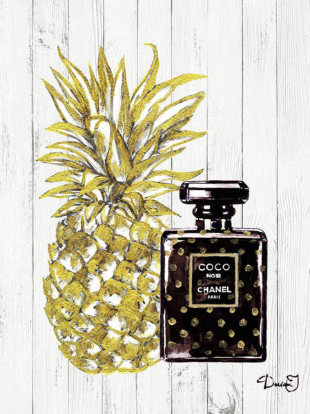 Chanel Painting - Chanel  Noir Perfume With Pineapple by Del Art