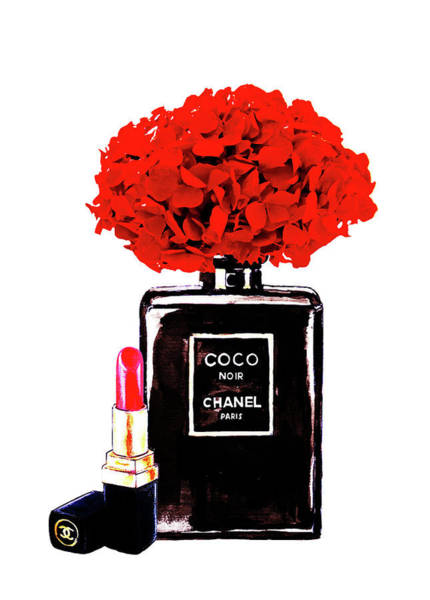 Wall Art - Painting - Chanel Noir Perfume With Red  Hydrangea  by Del Art
