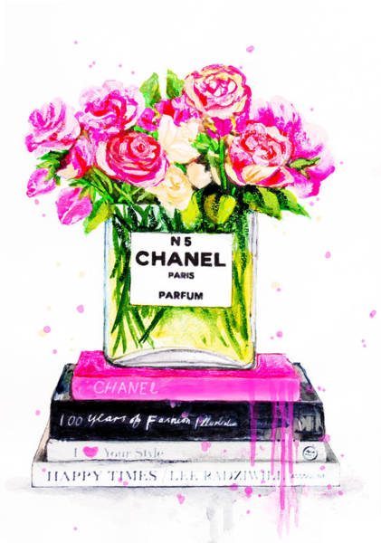 Chanel Painting - Chanel Nr 5 Flowers With  Perfume by Del Art