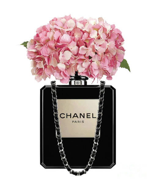 Chanel Painting - Chanel Perfume Bag With Pink Hydrangea 2 by Del Art
