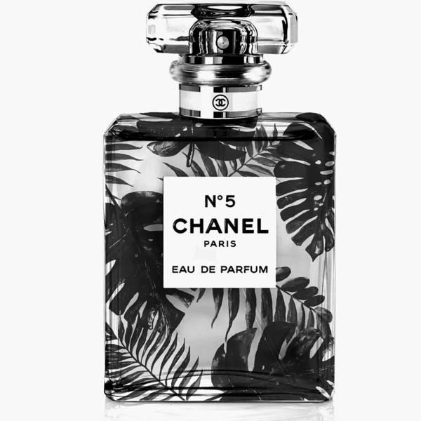 Palm Tree Mixed Media - Chanel Perfume, Black Leaves by Green Palace